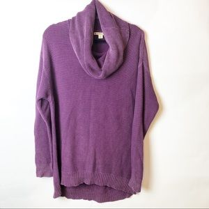 Ruff Hewn Purple Cowl Neck Tunic Sweater